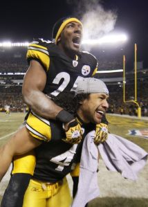 Troy Polamalu and Ryan Clark after the AFC Championship