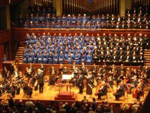 """A photo of the choir, orchestra, and Maestro Scribner at Brahms """"Ein Deutches Requiem."""""""